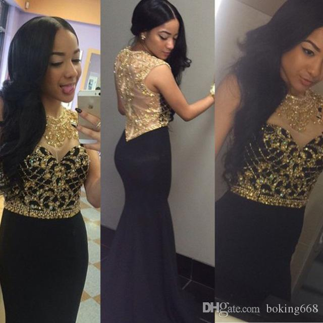 Elegant Long Mermaid Prom Dresses with Gold Sequins Rhinestone Tank See Through Back Black Party Gowns Vestidos de Noche Largos free shippng