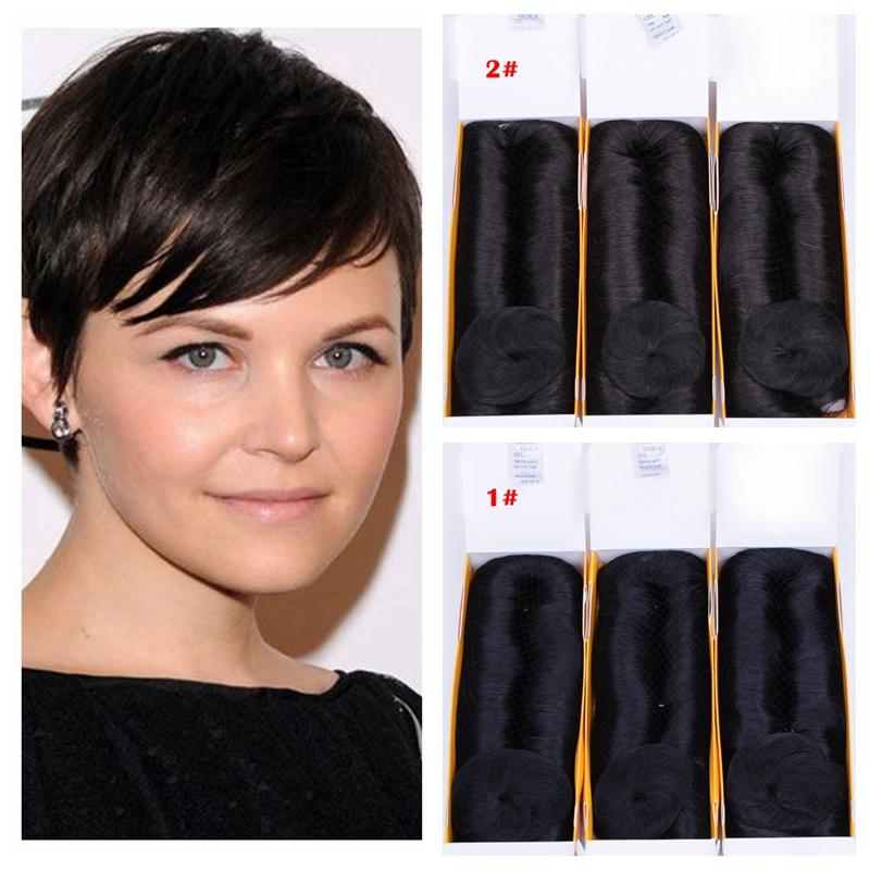 Short Peruvian Human Hair 28pcs Weave With Closure Full Head Natural Looking Black Brown Blonde 6 Color Can Choose Free Shippment