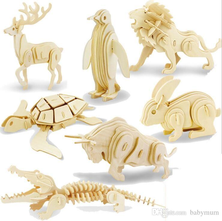 2019 Diy 3d Models Puzzle Educational Toys Wooden Building Blocks Wood Toy Jigsaw Craft Lion Tank Plane Goat Car Snake Horse Shark Spider From