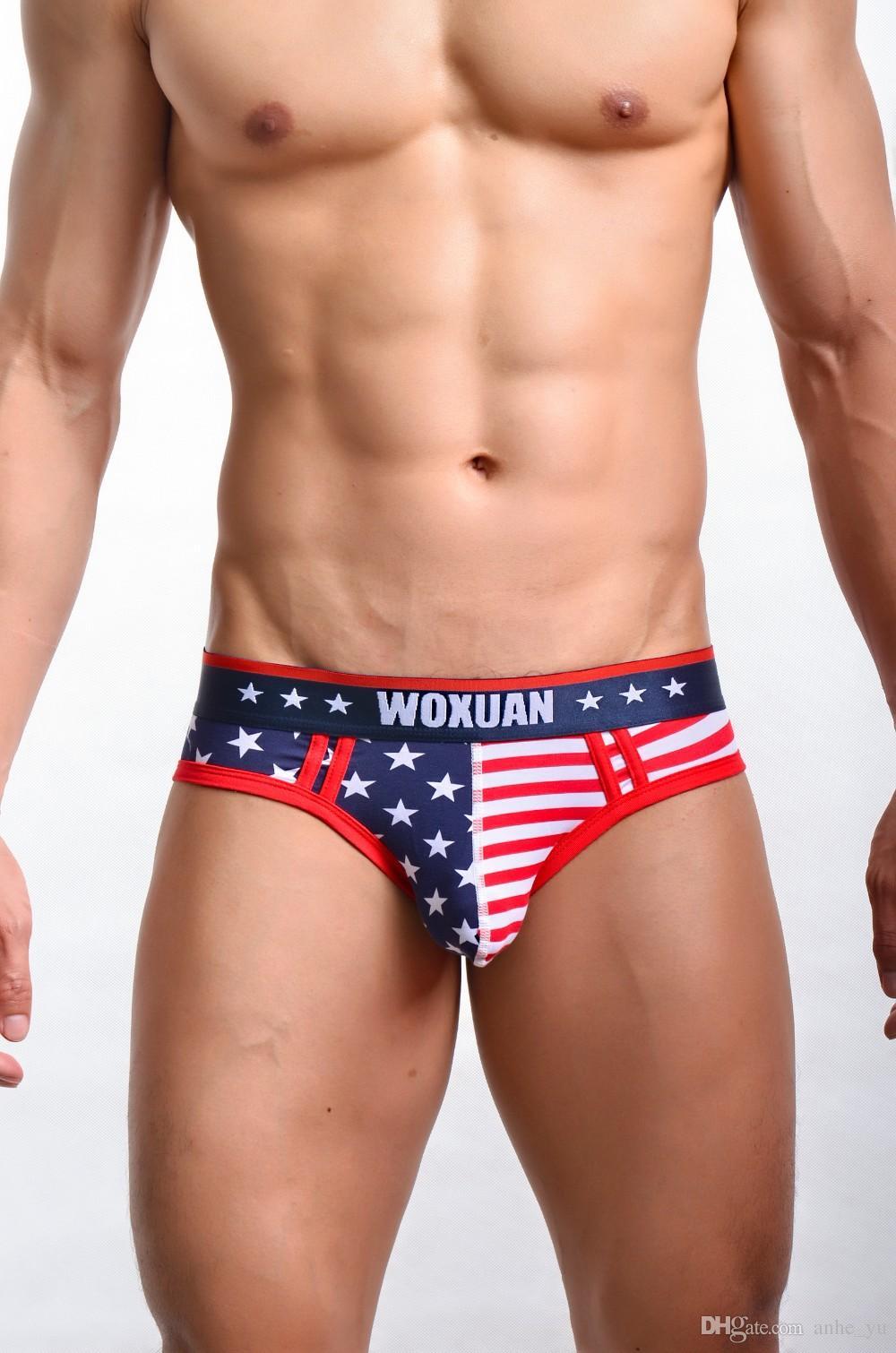 Сексуальные мужчины полосатые звезды U чехол гей нижнее белье низкая талия США флаг печатных Мужские трусы 95% хлопок гей одежда FX1011