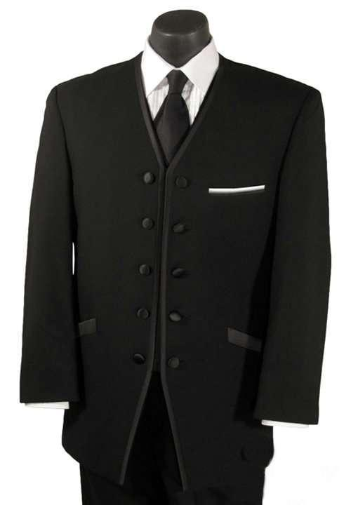 Conjunto de trajes de abrigo de esmoquin negro sin cuello 2015 de cuatro botones para trajes de boda para hombre, esmoquin para hombre