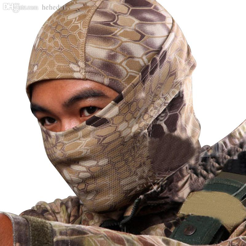 Wholesale-5 Color Tight Camo Balaclava Tactical Hunting Outdoor Paintball Motorcycle Ski Cycling Protection Full Face Mask W1
