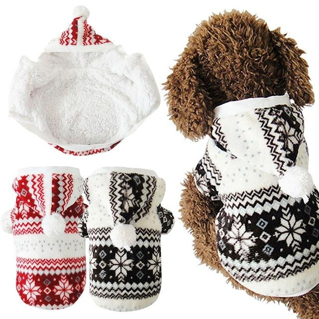 Hot Soft Winter Warm Pet Dog Clothes Snowflake Dos Costume Clothing Jacket Teddy Hoodie Coat