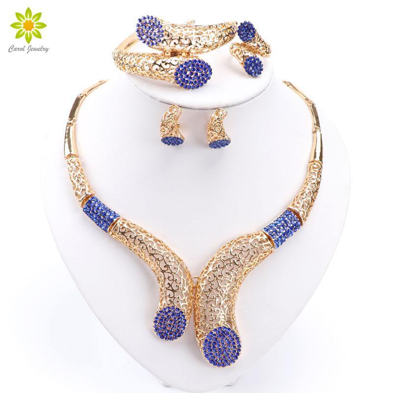 Nouvelle vente !! Dubaï africain plaqué or collier bracelet boucles d'oreilles bague costume ensembles de bijoux femmes bijoux de mariage