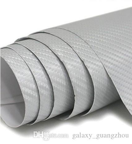 شحن مجاني ل 152 سنتيمتر x 30 متر 3d الفضة ألياف الكربون سيارة التفاف ملصق مع الهواء مجانا واستنزاف