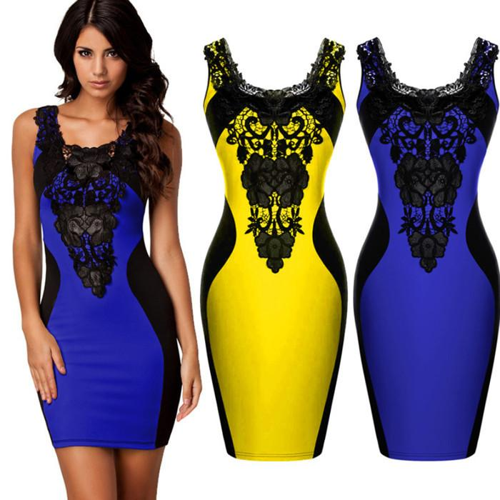 1047 Lace Hook Flower Spelling Skin Dress 2016 Summer Women Sexy Fashion Bodycon Dresses Woman For Clothing Ladies