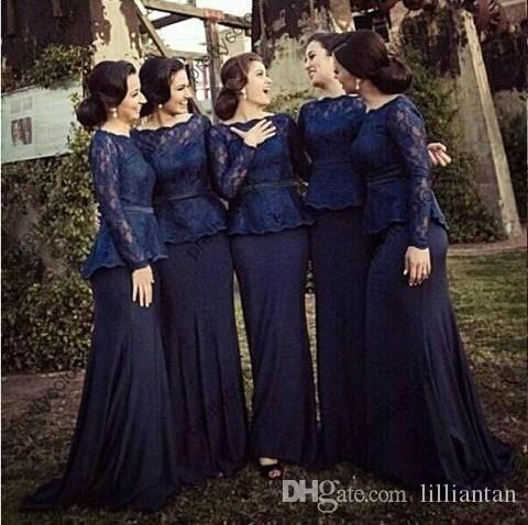 Vestidos da dama de honra da sereia da marinha escura 2019 manga longa manga elegante vestidos de festa de noite vestidos Bateau decote longos vestidos de dama de honra feitos