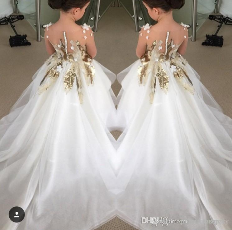 2016 Ny design Flower Girls Dresses for Weddings Långärmade Guldkvinnor Pagant Party Gowns First Communion Dress for Child Teens Custom