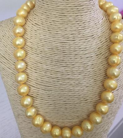 Venta al por mayor de 11-12 mm al por mayor de oro marrón del sur collar de perlas de 18 pulgadas de 14K de cierre de oro 14K