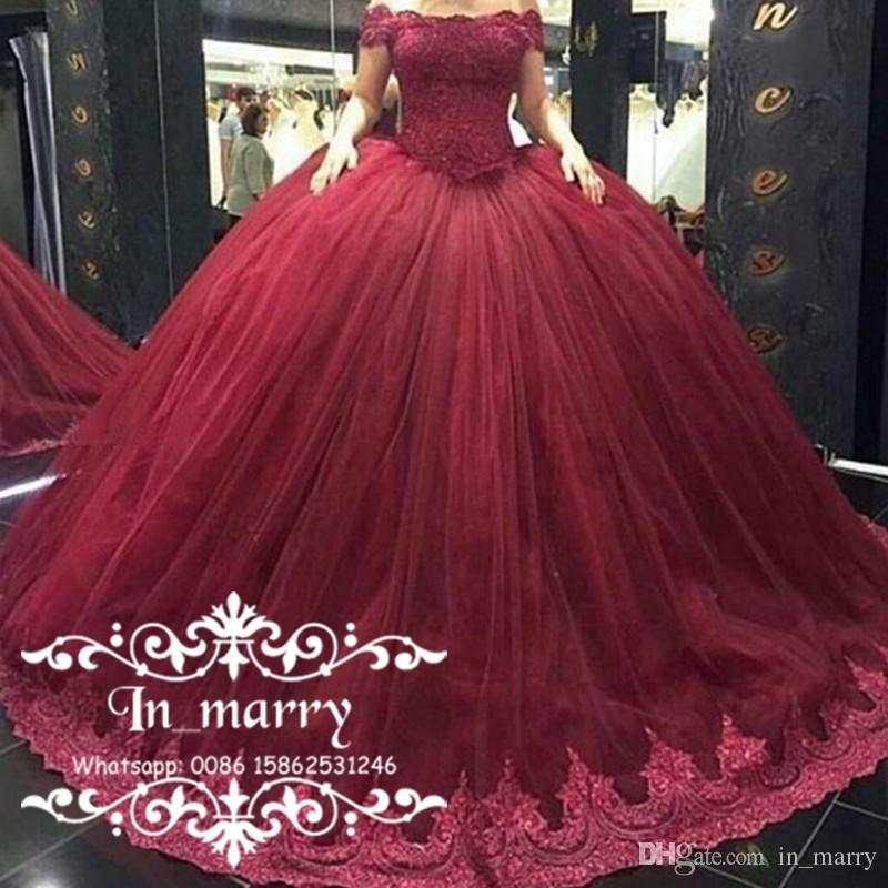 Burgundy Sweet 16 Ball Gown Quinceanera Dresses 2017 Off Shoulder ...