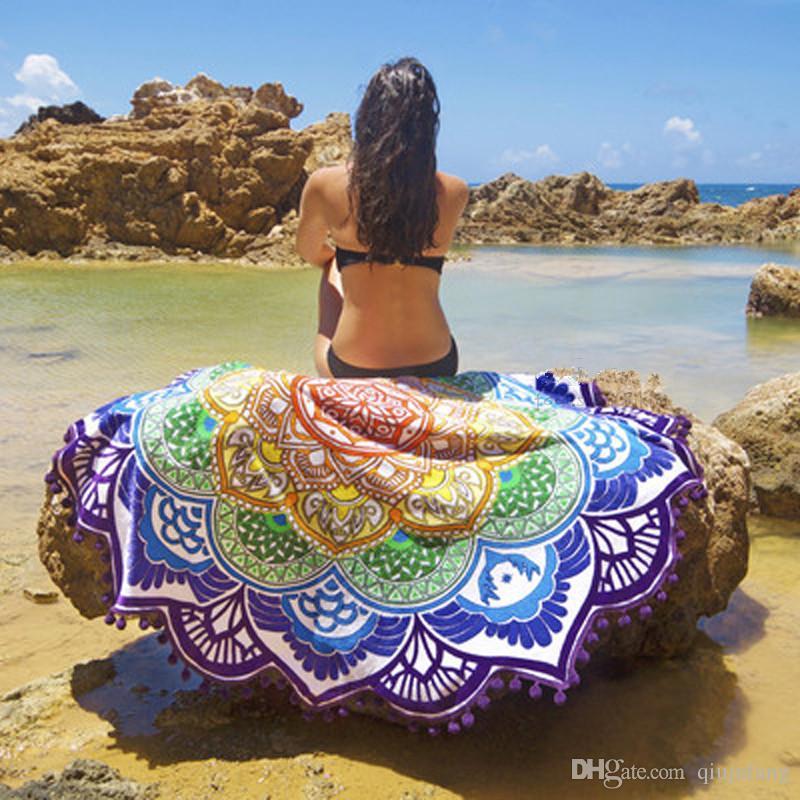 Nova impressão de rayon europeia praia circular yoga cobertores yoga yoga mat pano de areia xale toalha biquíni summer dress 160 cm
