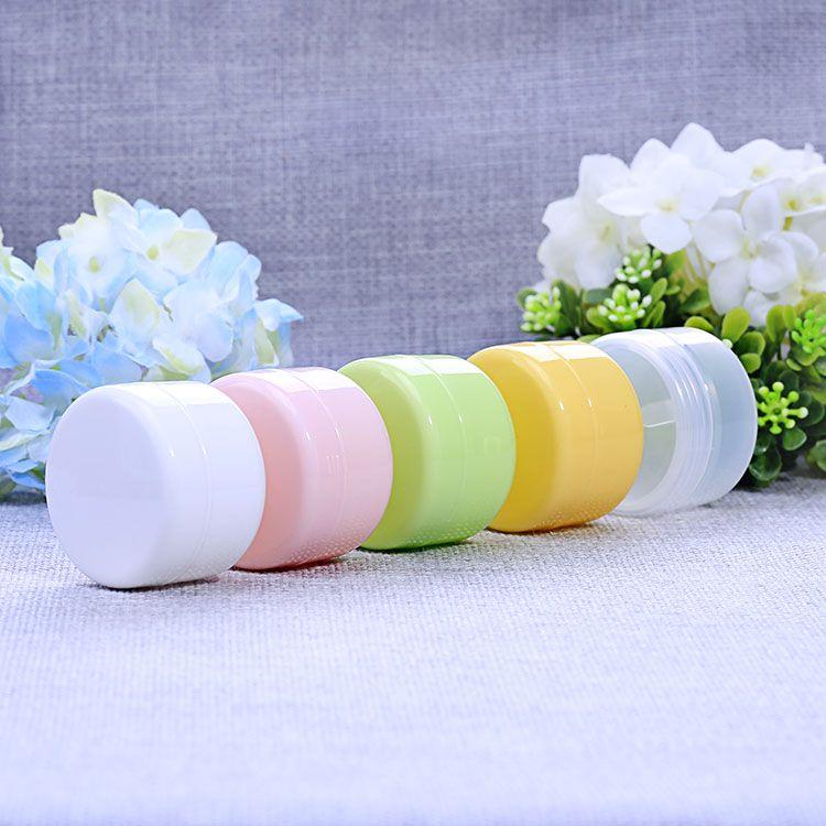 Vaso di crema di plastica 50g di colore di Muliti vuoto cosmetico piccola bottiglia contenitore di trucco bottiglia campione di imballaggio facciale donne favore 50pcs / lot HN15