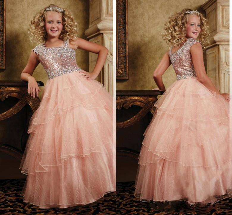Sequins Shining Floor Length Organza Ball Gown Little Girls Pageant Dresses with Jewel Neckline Layered Organza Flower Girls' Dresses