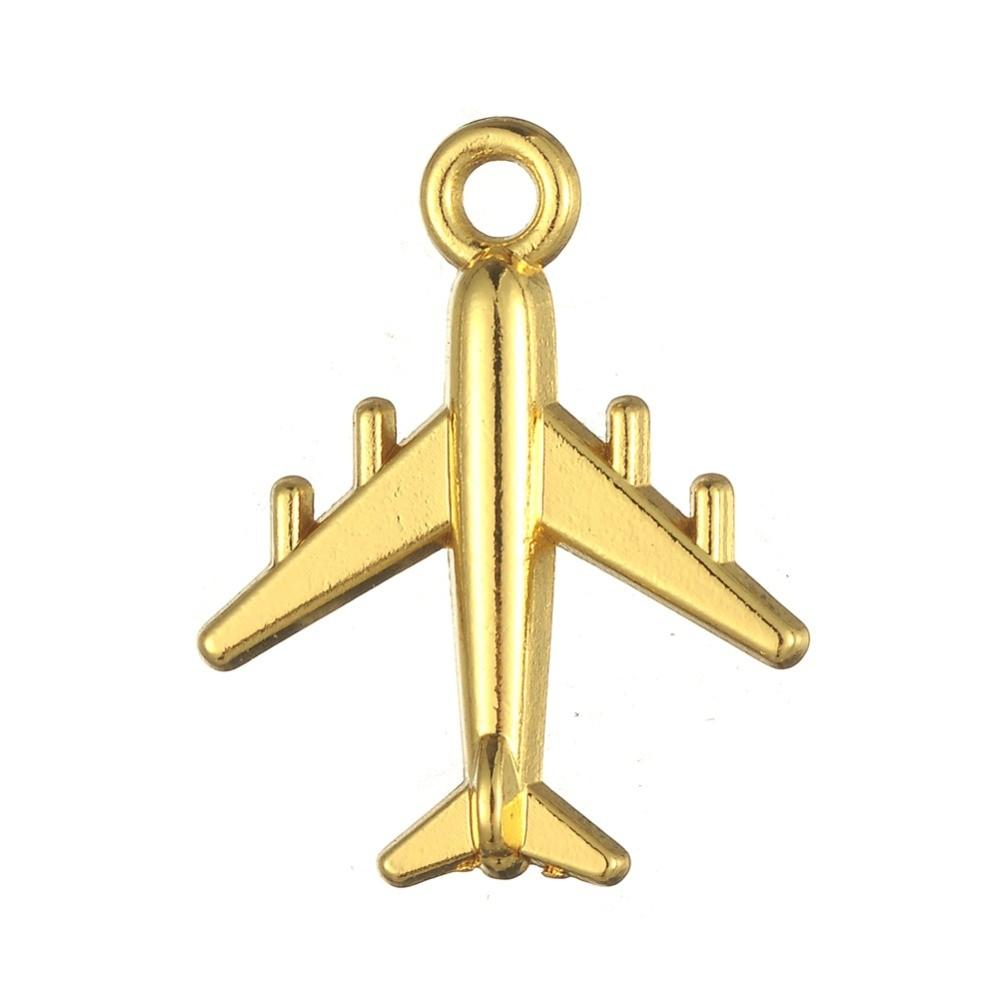 Tibetan-Silver-and-18k-Gold-Plated-Airplane-Aircraft-Floating-Charms-DIY-Plane-Fighter-Biker-Mens-Pendants