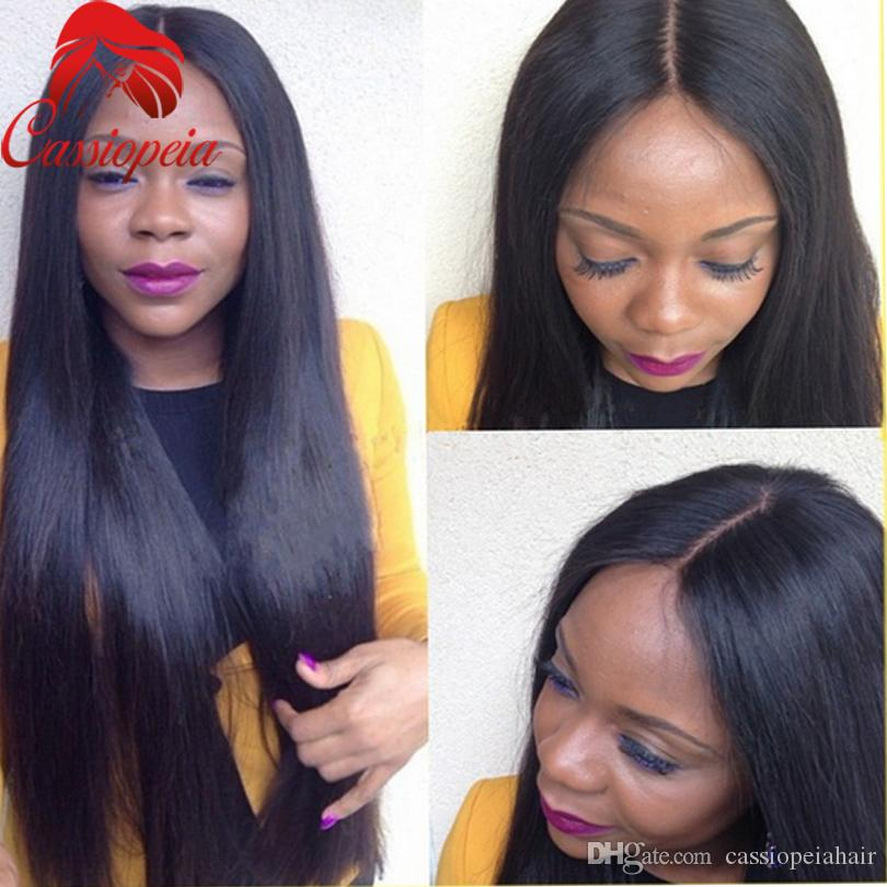Long Brazilian Silk Straight Virgin Human Hair Wig 100% Unprocessed Full Lace Virgin Hair Wigs With Baby hair For Black Women