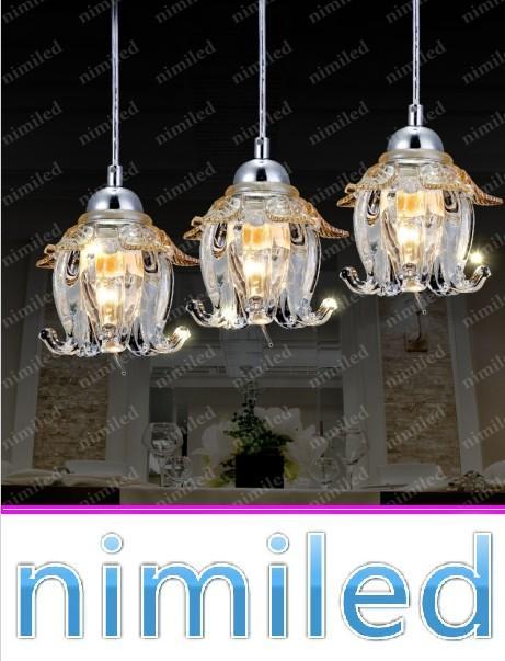 nimi804 1 / 3 / 5-Lgihts 유럽의 크리스탈 유리 꽃 레스토랑 샹들리에 조명 Droplight 거실 조명 펜 던 트 램프 바 조명