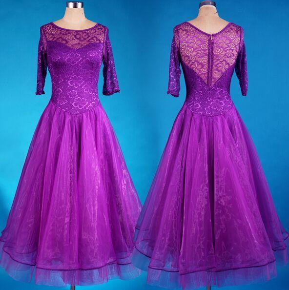 2018 Yüksek Kalite Custom Made Balo Salonu Dans Elbise Kırmızı / Mor Dantel Lady Elbise Balo Salonu Standart Dans Kadın Viyana Vals giyim Elbise