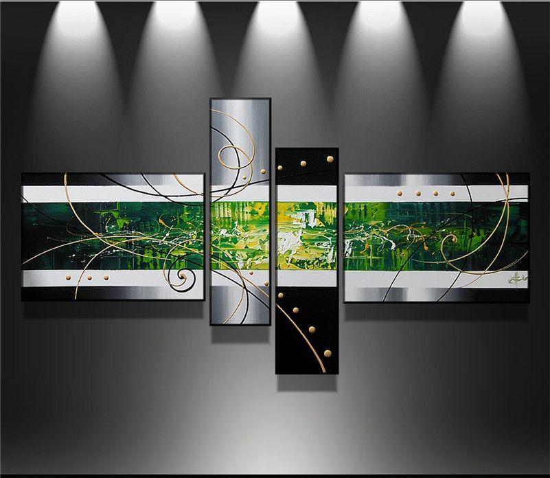 Handgemachte 4 teile / satz schwarz weiß grün moderne abstrakte ölgemälde auf leinwand wandkunst bilder für wohnzimmer dekoration