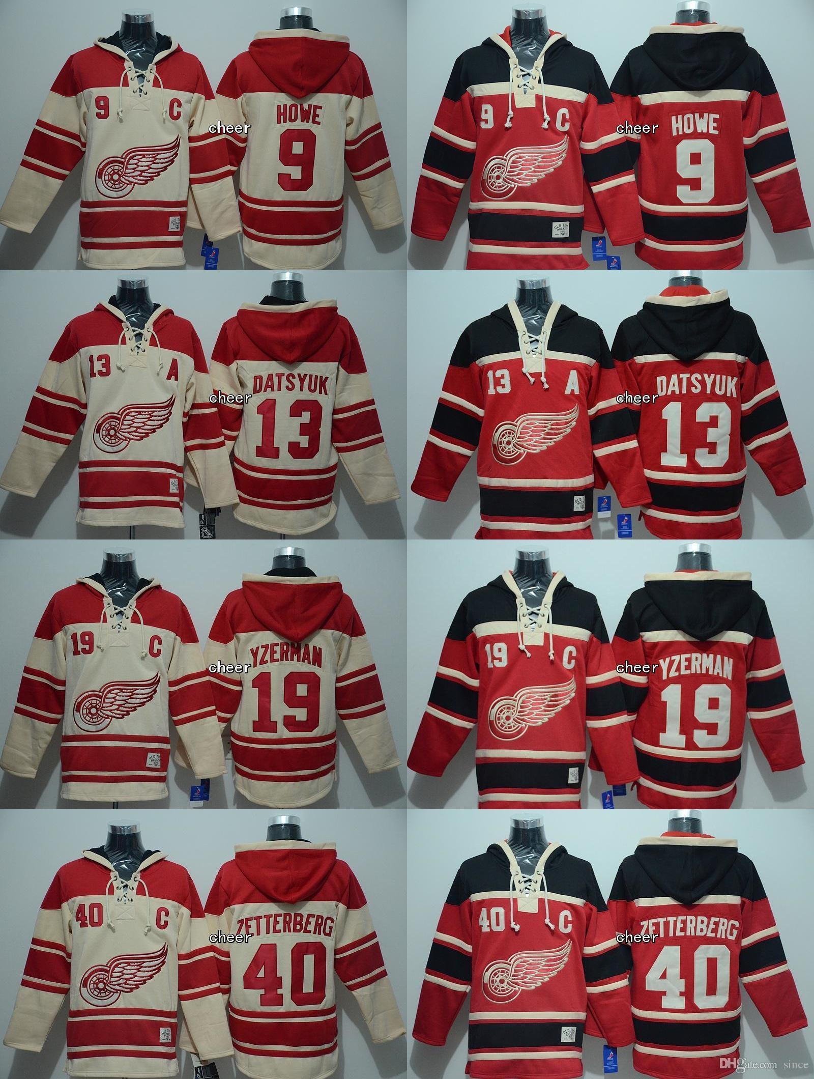 2016 новый бренд-Detroit Red Wings 9 howe 13 Дацюк 19 yzerman 40 zetterberg красный бежевый толстовки Джерси высокое качество хоккейные трикотажные изделия