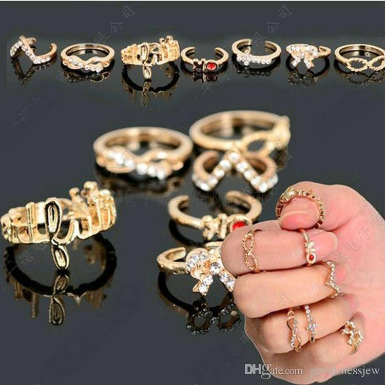 Rings for Women Fashion Jewelry 7pcs Popular MINI Crystal Bowknot Knuckle Midi Mid Finger Tip Stacking Wedding Ring Set