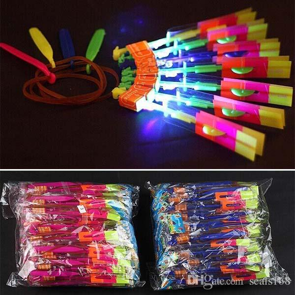 Children Led Lighting Flying Toys Creative Adult Novelty Rubber Band Magic Slingshot Arrow Luminous Helicopter Toys Kids XMAS Gifts HH-T26