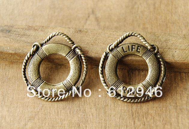 Livraison gratuite! 30pcs / Bronze Antique Rétro Life-bouée nager connecteur de charme anneau de vie accessoires de bricolage ZAKKA A419