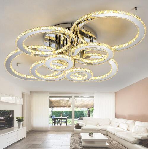 Modern led kristal tavan oda kapalı aydınlatma armatürü açık kehribar kristal yaşamak için yuvarlak tavan Avize ve 4/6/8 halkaları ışıkları
