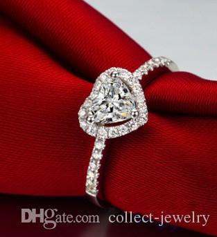 Argento 925 intarsio diamante amante cuore ady anello s dimensione 6 7 8 (1688)