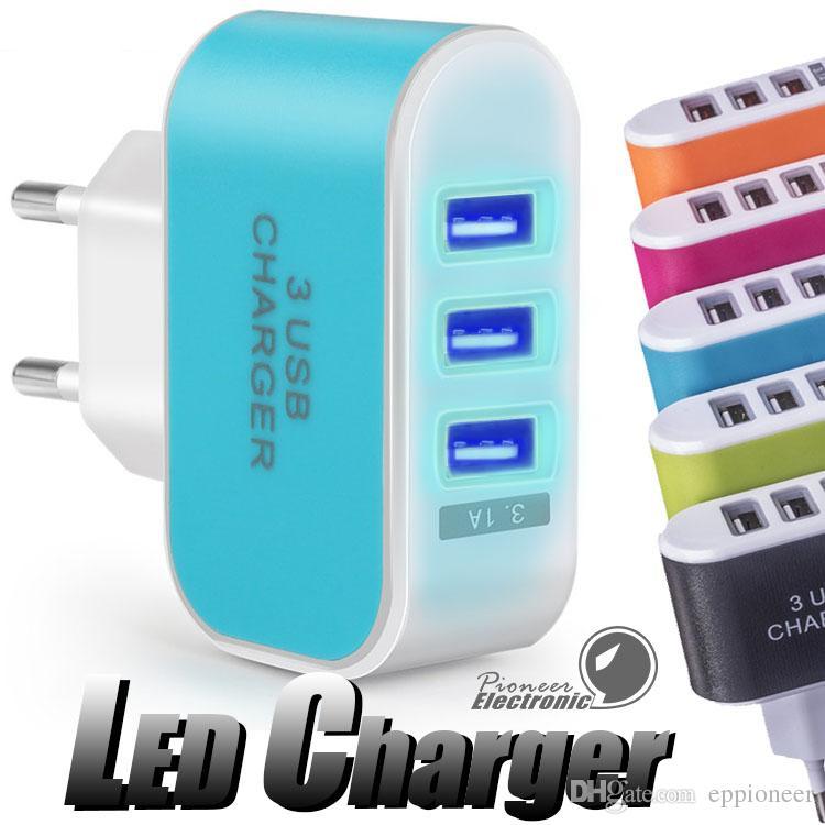 미국 EU 플러그 3 USB 벽 충전기 5V 3.1A LED 어댑터 휴대 전화 트리플 USB 포트와 여행 편리한 전원 어댑터