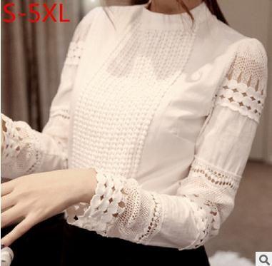 Kadınlar Bluzlar büyük beden 2016 İlkbahar Sonbahar Şık Uzun Kollu Beyaz Pamuk İnce Crochet Hollow Dantel kadınlar bluz Gömlek başında