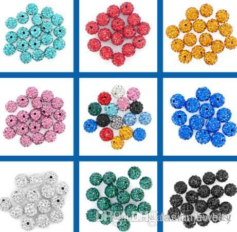 100 قطعة / الوحدة fasion أفضل 10 ملليمتر مختلط متعدد الألوان الكرة كريستال الخرزة سوار قلادة الخرزة. حار جديد الخرز الكثير! حجر الراين ديي فاصل