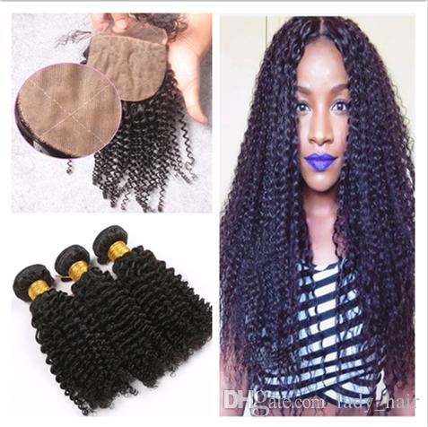 Virgin Brazilian Kinky Curly Hair With 4x4 Silk Base Closure 4Pcs Lot Virgin Brazilian Silk Top Closure With Human Hair Weave Bundles