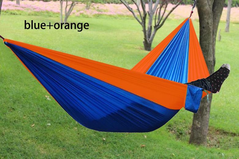 Atacado 200 Portátil Nylon Parachute Hammock Duplo Jardim Ao Ar Livre de Acampamento de Viagem Sobrevivência Hammock Cama Dormir Para 2 Pessoa