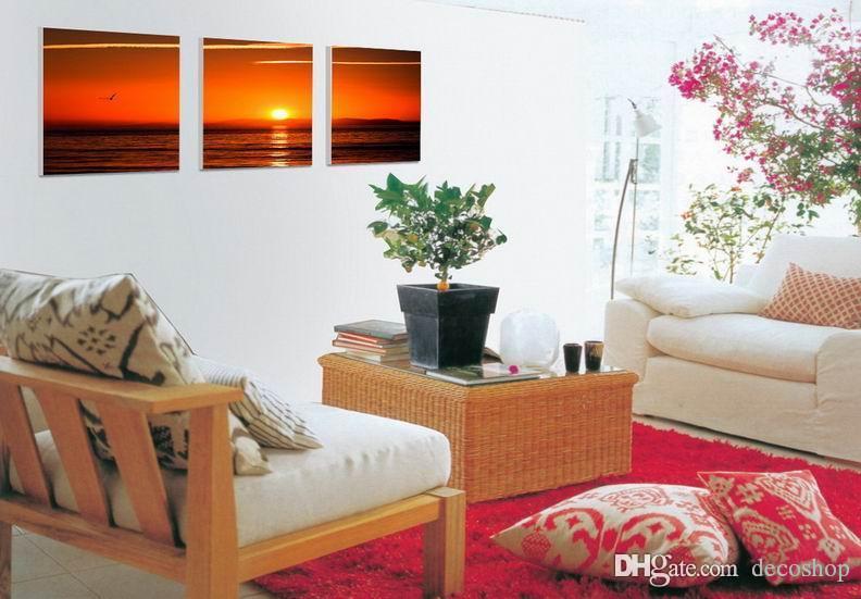 현대 아름다운 바다 일몰 그림 캔버스에 Giclee 인쇄 홈 장식 벽 예술 Set30321