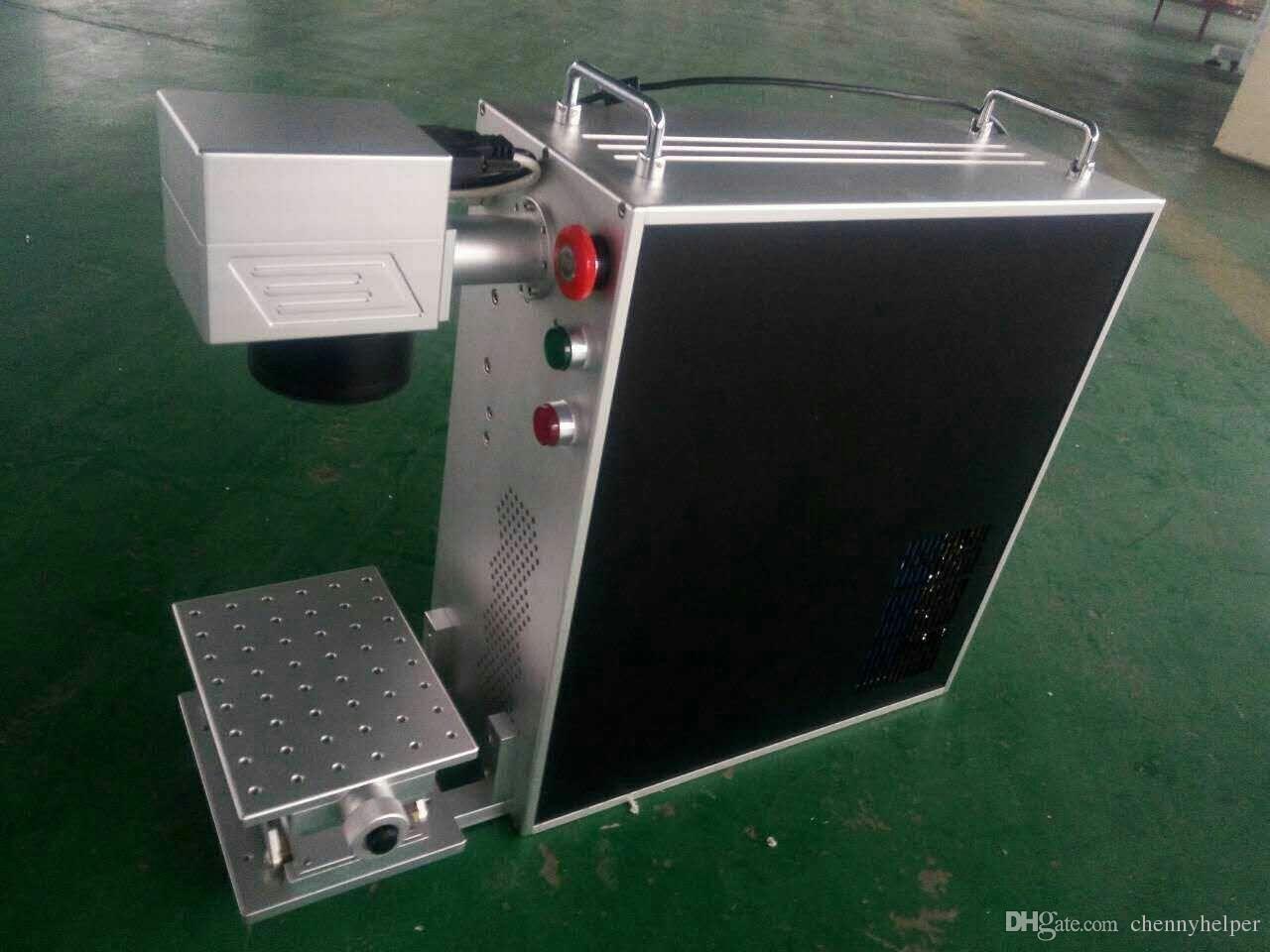 20W آلة وسم الليزر الألياف المعدنية المحمولة مع كمبيوتر محمول