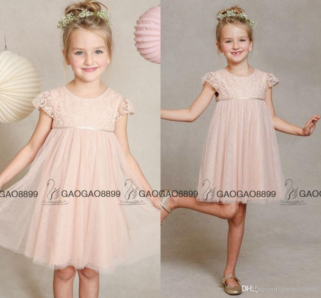 Jenny Yoo Criança Meninas Pequenas Meninas Blush Lace Tulle Abril Vestido Da Menina de Flor Bonito Cap Manga Na Altura Do Joelho-comprimento Barato Meninas Vestidos de Flores
