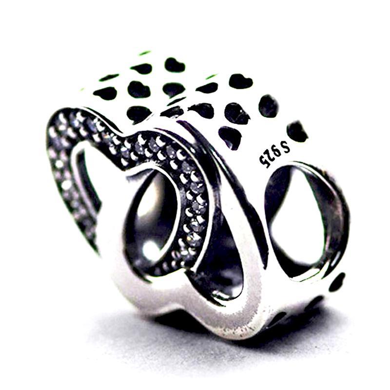 Entwined Love, Clear CZ 100% 925 Sterling Silver Perles Fit Pandora Bracelet Bracelet Bijoux de mode DIY authentiques
