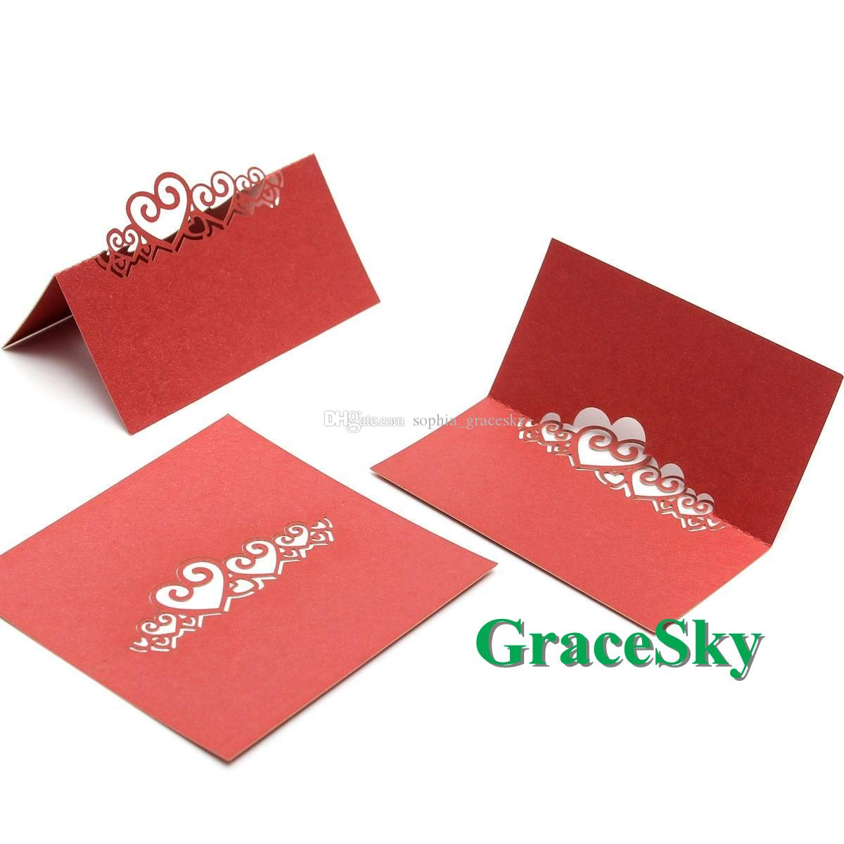 50pcs/lot Free Shipping Laser Cut wedding Multi-love heart shaped Paper Place Seat Name Invitation Card for Wedding Party Table Decorations