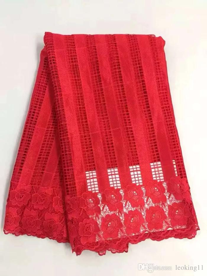 Beautiful red strip style african cord lace fabric with flower water soluble guipure lace for party dress DW4-3