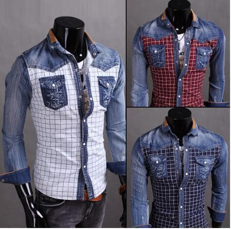 2017 새로운 도착 패션 데님 셔츠는 컬러 체크 무늬 패치 워크 스타일의 남성 셔츠 슬림 긴 청바지 셔츠 M-3XL 소매 철자