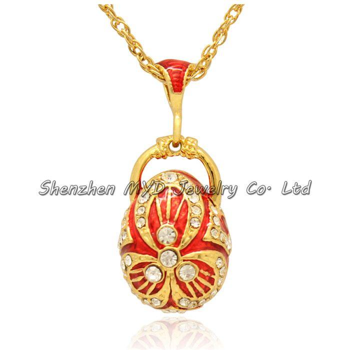 Moda takı mezuniyet hediyeler renk emaye Rus tarzı kristal 18 K altın kaplama Faberge yumurta kolye kolye zinciri ile