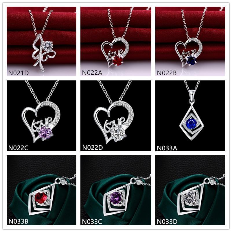 la plata de la piedra preciosa 925 mejores mujeres de la moda de regalo collar 10 piezas al estilo de la porción mezclada, plata esterlina barato collares pendientes EMN20