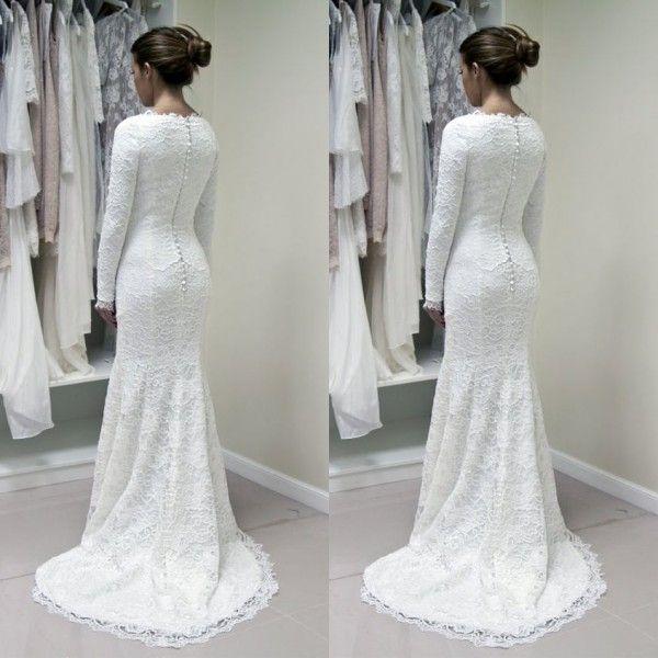 Robes de mariée d'hiver Modest manches longues Full Lace Mermaid robes de mariée bijou cou Custom Made haute qualité mariées portent balayage train