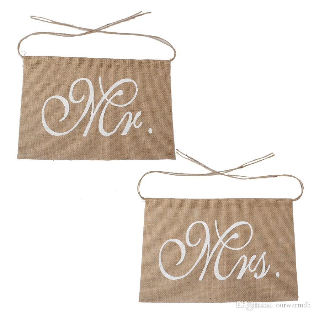 Romantic Mr & Mrs Burlap Chair Banner Set Chair Sign Garland for