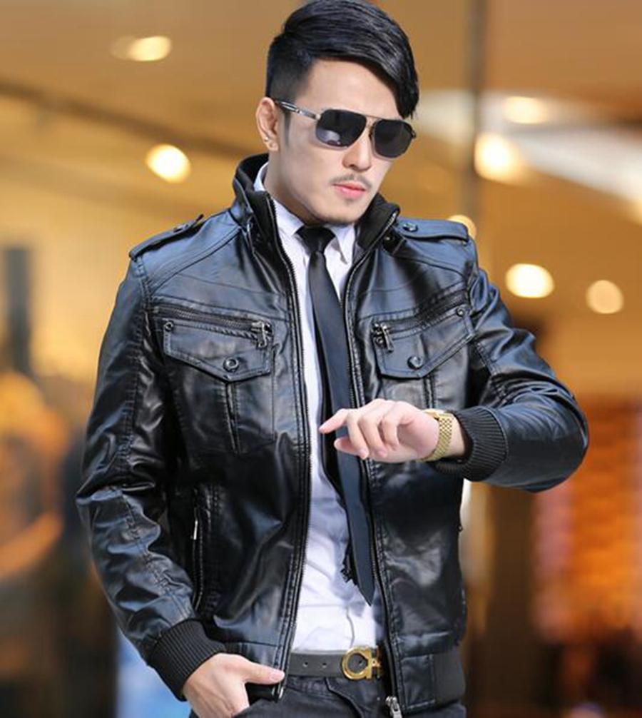 Hommes d'hiver nouvelle veste en cuir mince hommes plus velours épaississement motoodezhda plomb chanteur robe costumes / M-4XL