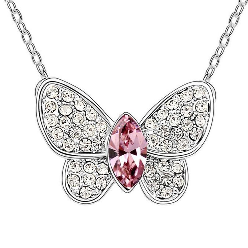 Mode vlinder kristallen hanger ketting prom sieraden gemaakt met Swarovski elementen Oostenrijkse kristallen sieraden ketting voor vrouwen 6541