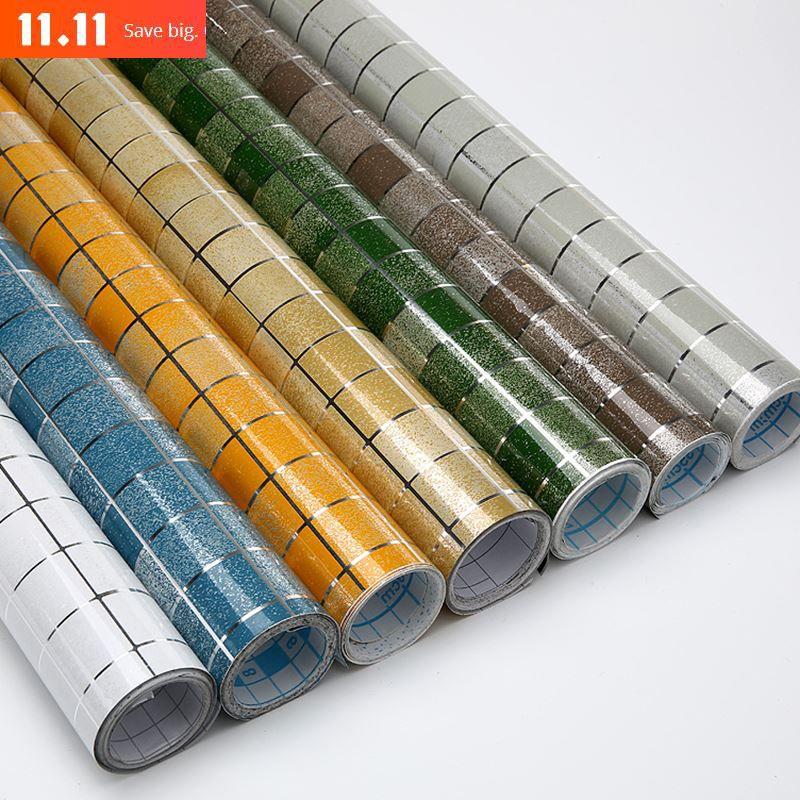 11.11 half off Modern Bathroom Waterproof Mosaic Vinyl PVC Self adhesive Anti Oil Kitchen Wallpaper Heat Resistance DIY Home Decor