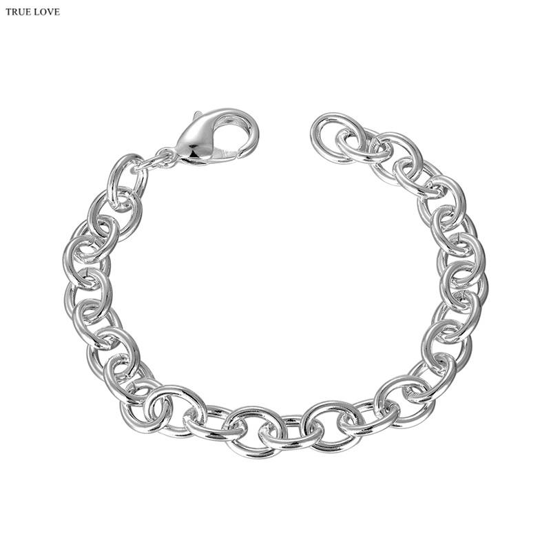 High-quality 925 sterling silver plated chain bracelet fashion jewelry cool street style Christmas gift free shipping
