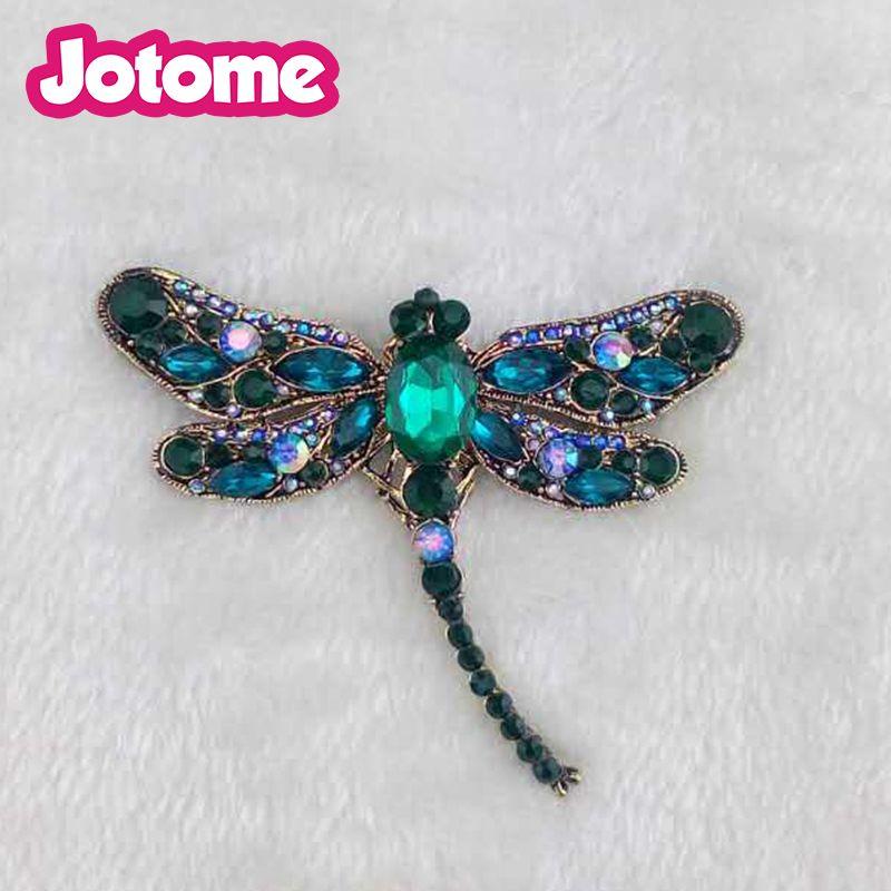 Duża biżuteria Hurtownie Vintage Big Green Or Black Crystal Dragonfly Insect Animal Rhinestone Broszka