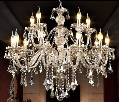 Home Antique Led Cognac crystal chandelier E14 bulb led candle holder pendant lights large luxury hotel villa led changing lamp lamparas